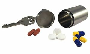 Titanium-Single-Chamber-Waterproof-Airtight-Keychain-Pill-Fob-Storage-Polished