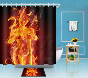 Image Is Loading Naked Fire Woman Shower Curtain Fabric Bathroom Waterproof
