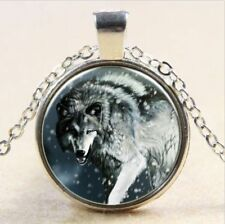 Vintage Wolf Cabochon Tibetan silver Glass Chain Pendant Necklace jewelry #g26