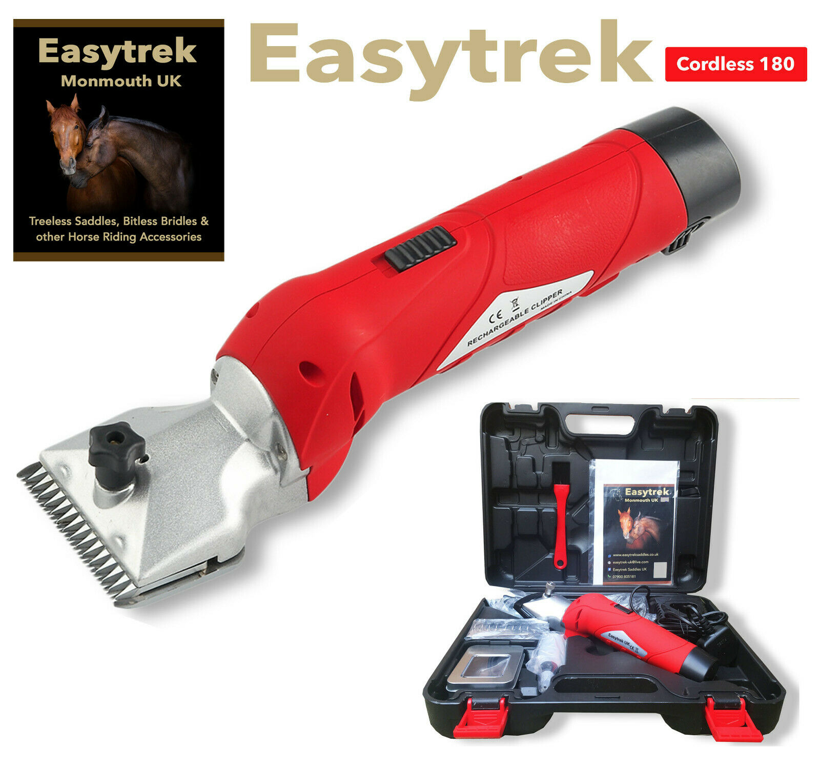 Cordless horse clippers trimmers grooming powerful quiet 1 year warranty 2 blade