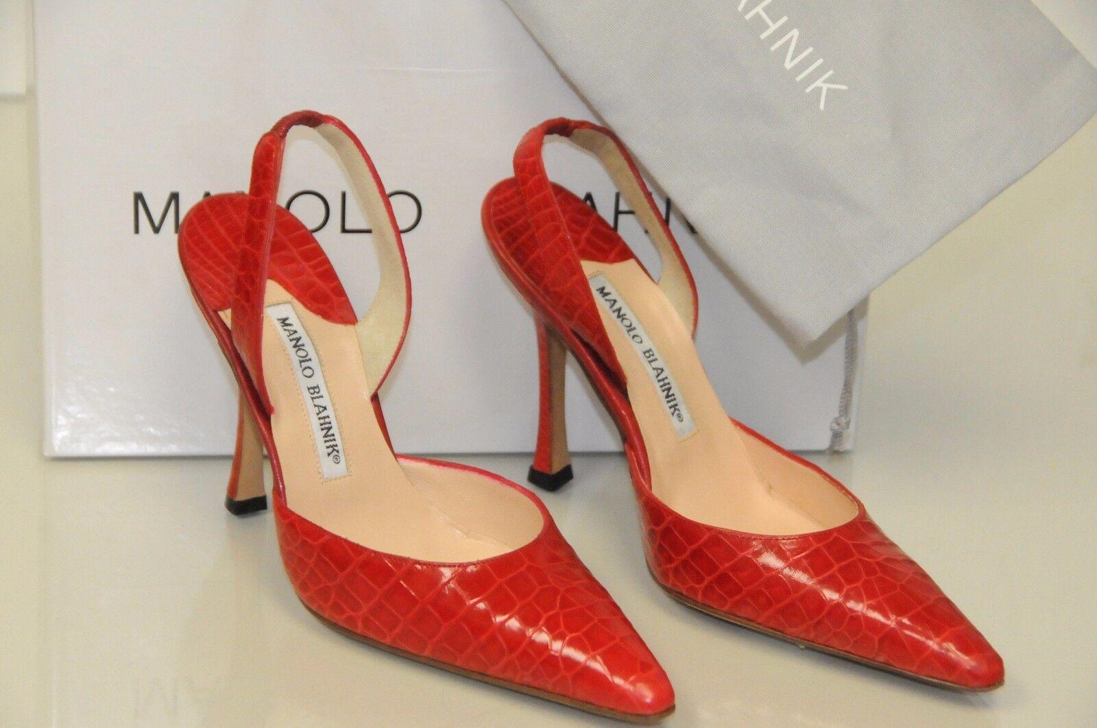 $5400 NEW MANOLO BLAHNIK CAROLYNE RED ALLIGATOR CROCODILE SLINGS SHOES 35.5  36