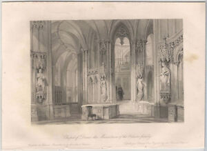 1870s Steel Engraving of Dreux Chapel, Mausoleum of the Orleans Family in France