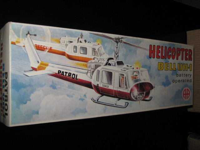 VINTAGE RARE GREEK HELICOPTER BELL UX-1 BATTERY OPERATED LITHO BOX BY AA 70s MIB