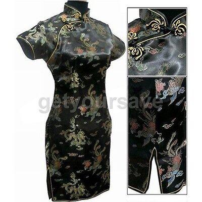 Chinese Women's Dragon&Phoenix Mini Cheongsam Evening Dress/QiPao mini dress