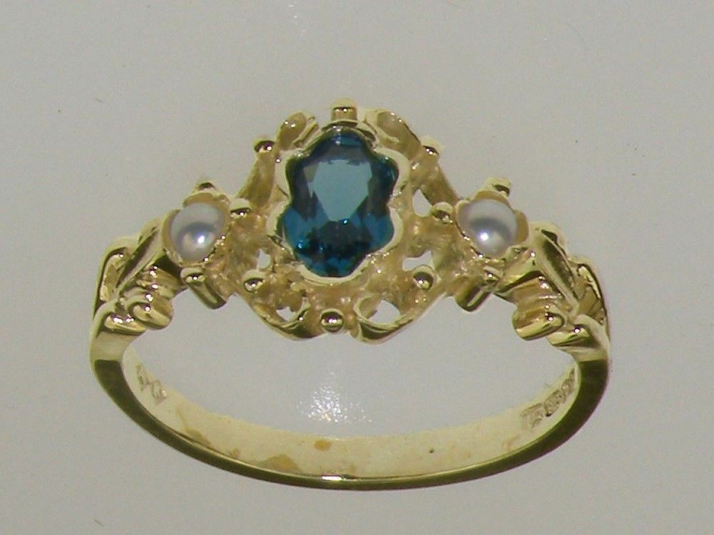 9ct Yellow gold Natural London bluee Topaz & Cultured Pearl Womens Trilogy Ring