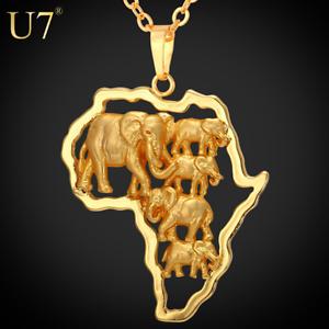 Nouveau Hommes Femmes Troupeau d/'éléphant Africain Collier Pendentif Feuille Argent Or Bijoux