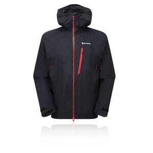 Montane-Alpine-Pro-Hombre-Negro-Impermeable-Resiste-Viento-Capucha-Chaqueta-Top