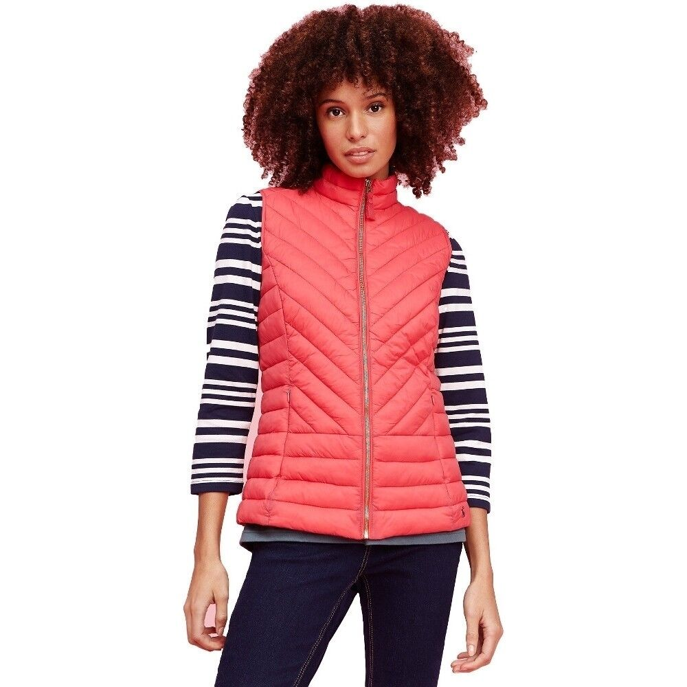 NUOVO  Joules Donna Chevron Brindley Trapuntato Gilet Ribes Rosso-Tg