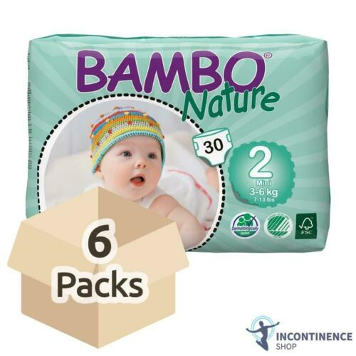 6 Packs of 30-600ml - Case Size 2 Bambo Nature Baby Nappies 3-6kg