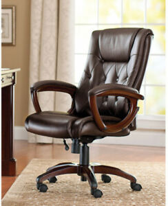 Office Chair Leather Brown Rolling