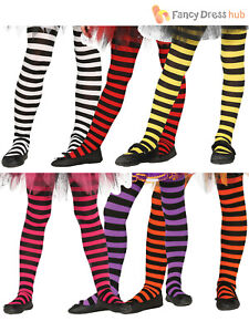 Ladies Black Green Purple Orange Stripe Stockings Witch Fancy Dress Party