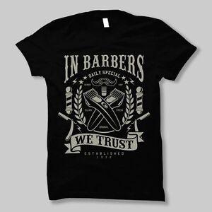 Rockabilly Barber T-Shirt Mens S-5XL Shop Hipster Beard Tee Fresh Style