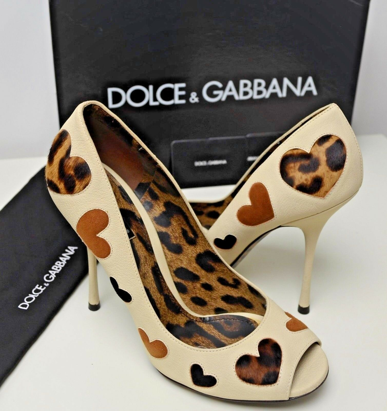 Dolce & Suede Gabbana Leopard Pony Hair Suede & Hearts Heels Pattern Shoes White Beige 902910