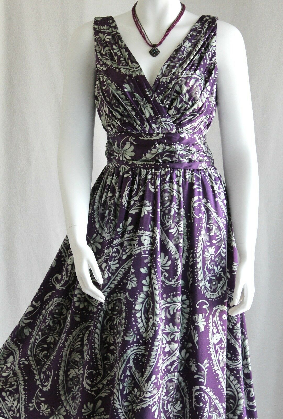 Spiegel Purple Paisley Print 100% SILK Surplice A-Line Midi Dress 6 NWT