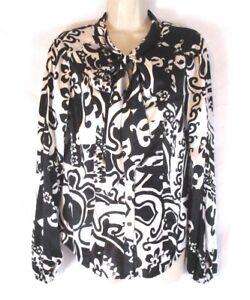 Camicia-da-donna-CACHE-seta-Fiocco-taglia-media-nero-bianco-manica-lunga-Snap-CB50M
