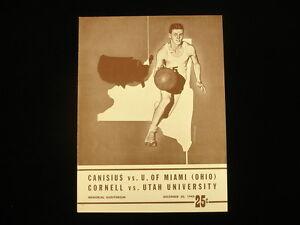 Dec 30, 1948 Canisius vs. U. of Miami, Cornell vs. Utah Univ. Basketball Program