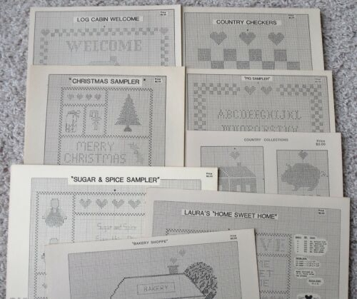 Collection of 7 Vintage Laura Ingles Design Country Theme Cross Stitch Charts