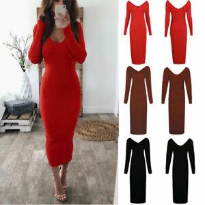 Knit-Bodycon-Sweater-Pencil-Womens-Sleeve-Jumper-Long-Dress-V-Neck-Dresses