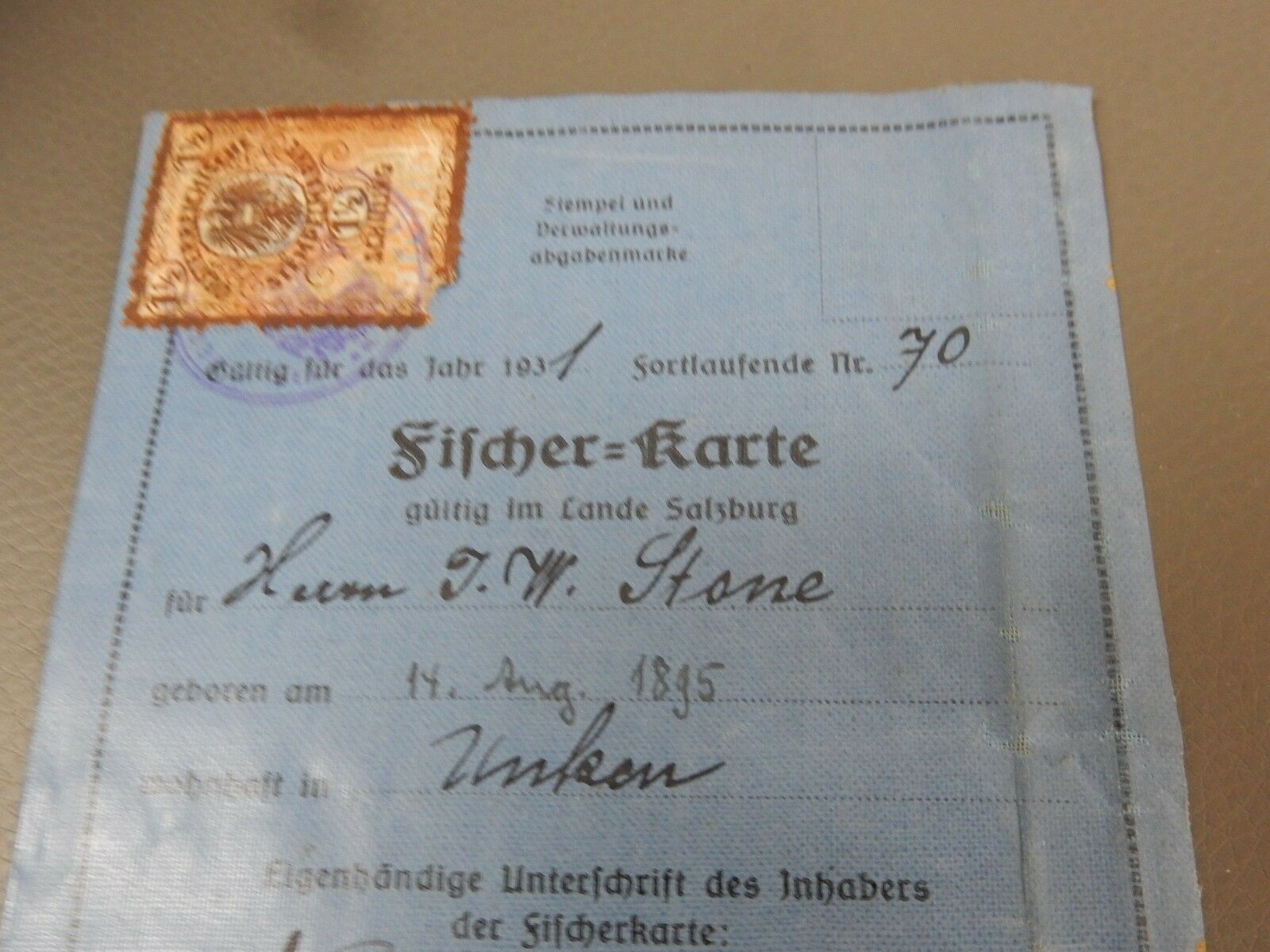 1931 UNKEN  FISHERMANS ANGLING PASSPORT ANGLER FISCHER SALZBURG ISSUED licence  after-sale protection
