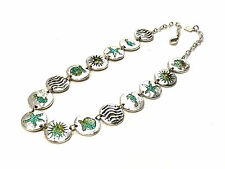 Bijou étain argenté collier médaillons émaillés Dolce Vita necklace