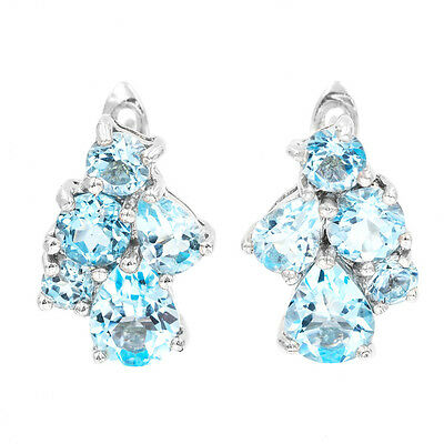 Earth Mined 9 7mm Sky Blue Topaz Natural Rare Gems Sterling Silver 925 Earring