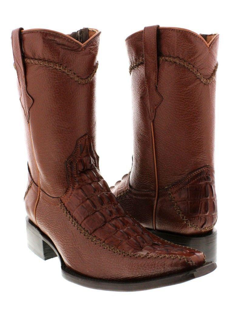 Mens Cognac Crocodile Tail Print Dress Leather Cowboy Boots Zip Up Dress Square