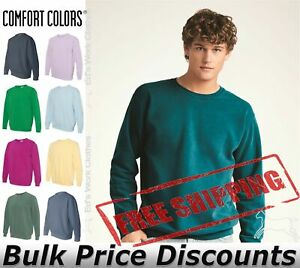 Comfort-Colors-Mens-Garment-Dyed-Ringspun-Crewneck-Sweatshirt-1566-up-to-3XL