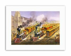 RAIL-TRAIN-LOCOMOTIVE-STEAM-RAIL-NEW-Poster-Picture-Painting-Travel-Drawing