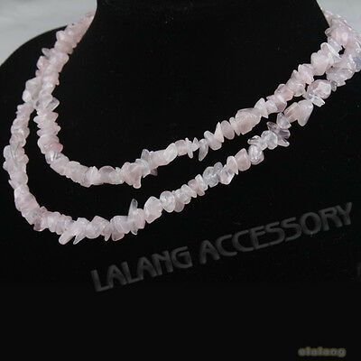 1string New Light Pink Quartz Irregular Chip Gemstone Beads Charms Necklaces 85m