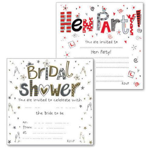 Invitations-luxe nuptiale douche ou Enterrement Vie Jeune Fille Fête De Mariage Amis Pack de 10