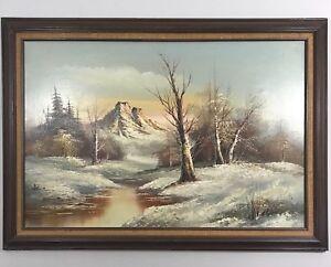 Antique-Vintage-Signed-Landscape-Mountain-Tree-Winter-Scene-Framed-Oil-Painting