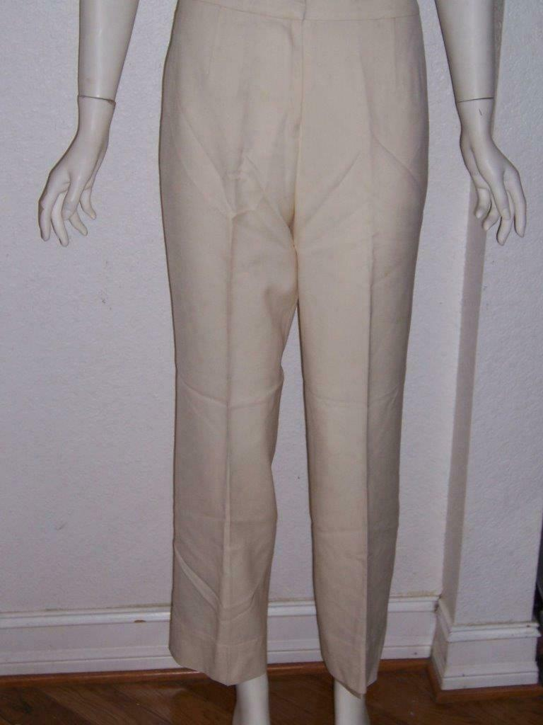 WOMEN'S PENDLETON IVORY 100% WOOL LINED DRESS PANTS TROUSER SIZE 4
