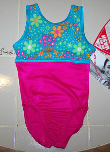 Nwt-New-Alpha-Factor-Leotard-Teal-Flower-Hot-Pink-Silky-Shine-Tank-Girl-S-4-5