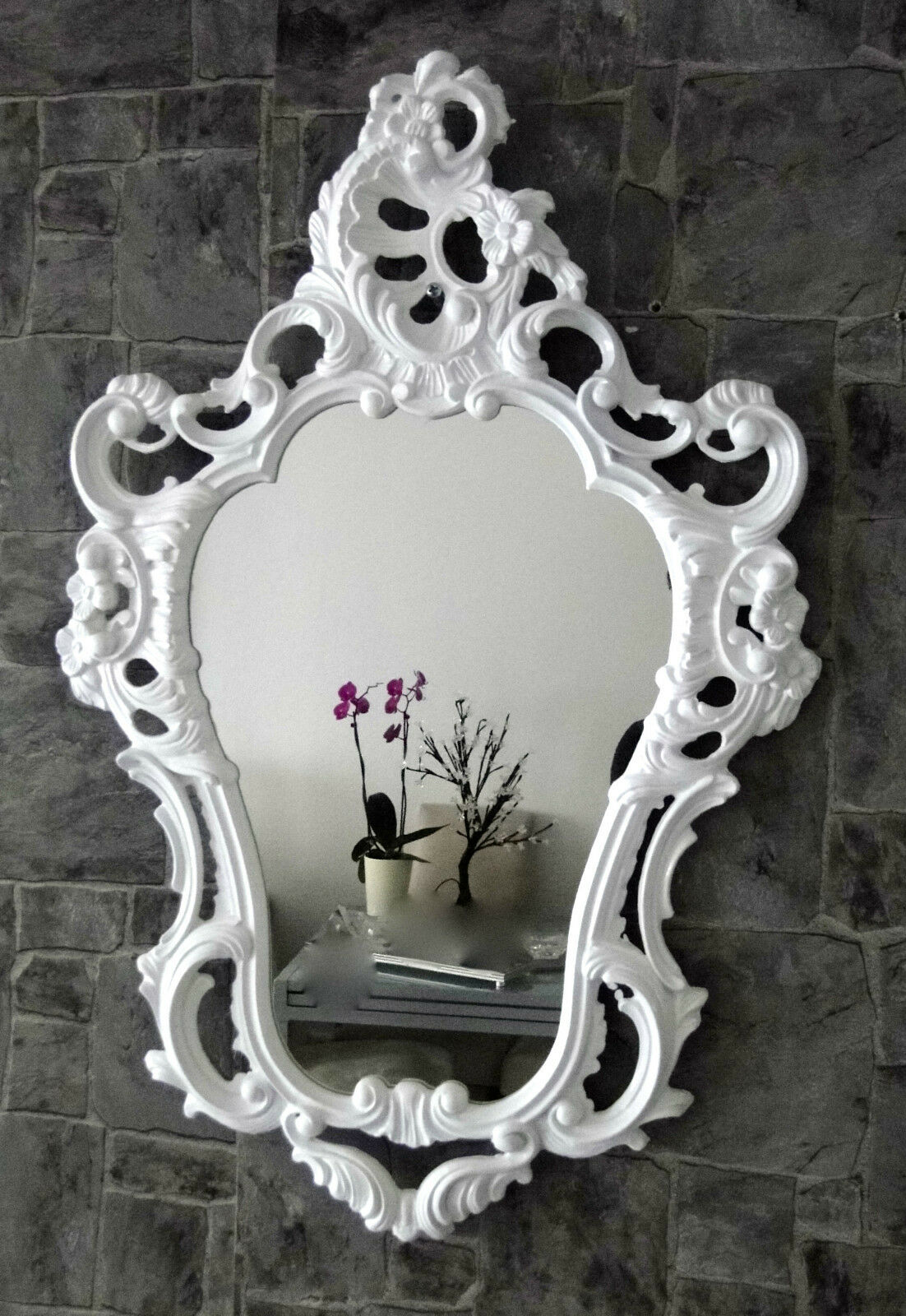 Miroir Mural Blanc Ornement Ancien Baroque Shabby Ovale de Sale Bain 50x76