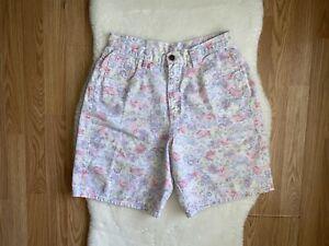 Women-039-s-Vintage-Zena-Multicolor-Pastel-Floral-High-Rise-Jean-Shorts-Size-31-034