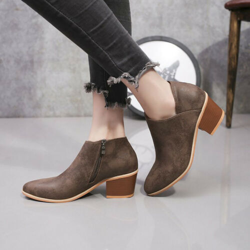 Women Ankle Boots Low Block Heels Chelsea Zip Up Round Toe Booties Frosted Shoes