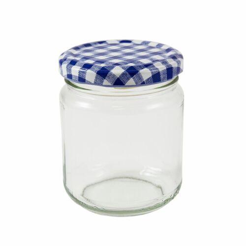 8oz Round Glass Jam Jar,228ml,Pack 36,Blue Gingham Lids,Marmalade,Jams,Curd,New*