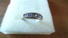 9ct white gold, tanzanite and diamond band ring, pre worn, size J.5 - K