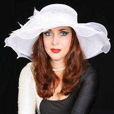 Elegante Cappello da donna in avorio BIANCO Giglio Organza Sposa Di Matrimonio