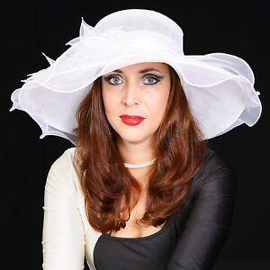 Elegante-Cappello-da-Donna-IN-Avorio-Bianco-Giglio-Organza-Sposa-di-Matrimonio