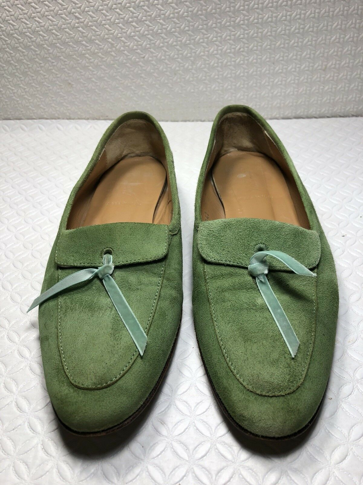 J Crew Women's Green Leather Ballet Flats Made In  Size-7