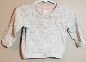 a1f714cd656c H M Baby Girls Bunny Rabbit Grey   Pink Cardigan Sweater Button Size ...