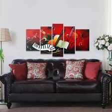 Music Score Painting Framed Oil Love Art Canvas Wall Landscape 5 Panels Decor