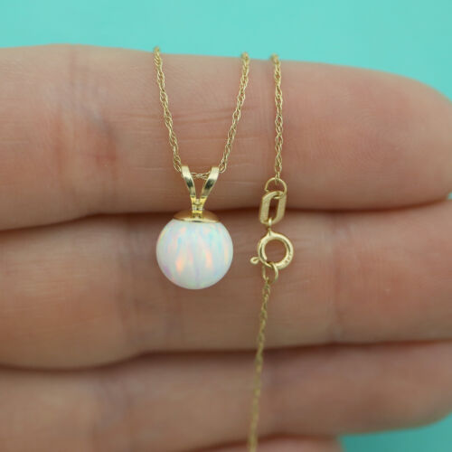 14k Yellow//White Gold 7mm White Simulated Opal Pendant Necklace