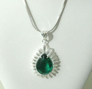 White-Gold-Plated-Necklace-Silver-Plated-Simulated-Green-Gemstone-Girls-Womens