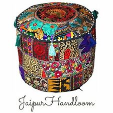 Jaipur Handloom Black Indian Pouf Stool Vintage Patchwork Embellished Living New