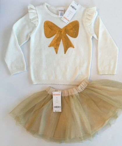 Gymboree Gold Sequin Bow Sweater /& Gold Tutu 3T NWT $62.90