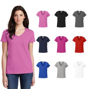 Gildan-Ladies-V-Neck-Tee-Basic-Cotton-Blank-Solid-Short-Sleeve-T-Shirt-5V00L