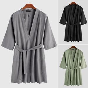 Summer Mens Womens Pajamas Kimono Bathrobe Robe Dressing Gown Pjs Loungewear UK