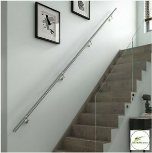 Stairs Wall Mounted Handrail Full Kit In Chrome Or Brushed Nickel 3600mm Long Ebay